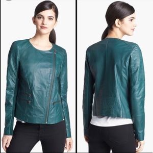 Trouve - Green Real Leather Moto Jacket - Size M